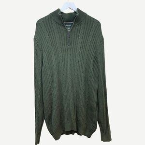 EDDIE BAUER Men's Quarter Zip Cable Knit Sweater L Tall
